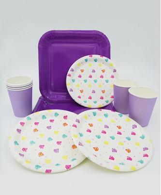 """Набор праздничной посуды """"Алмазы"""" фиолетовый"""