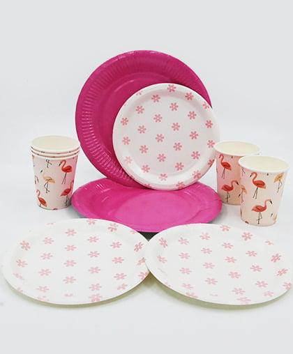 """Посуда для праздника """"Цветы и фламинго"""""""