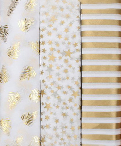 Тишью с золотым принтом, 50х70 см, 10 листов