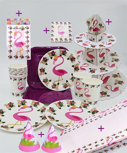 """Набор праздничной посуды """"Розовый фламинго +"""""""