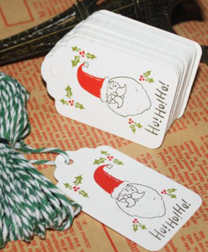 "Бирка на подарок ""Santa"" с веревкой | 10 шт."