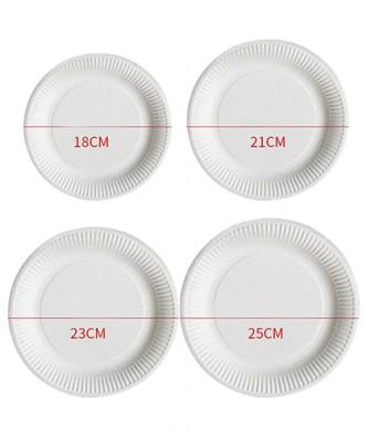 Тарелки одноразовые бумажные белые