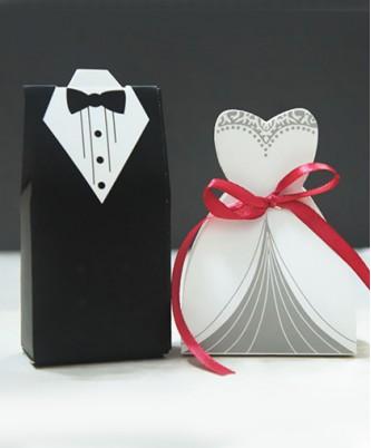 """Бонбоньерка """"Жених и невеста"""" (с лентой)"""